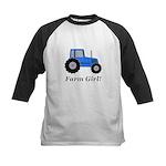 Farm Girl Tractor Kids Baseball Jersey