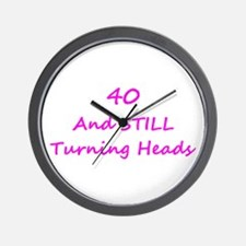 40 Still Turning Heads 1C Pink Wall Clock