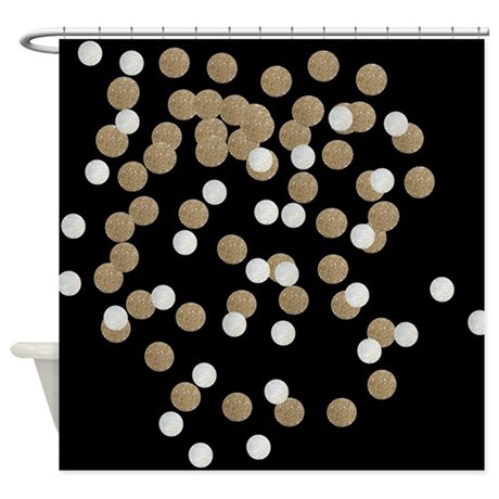 Chic Glitter Gold Confetti Shower Curtain By Admin Cp62325139