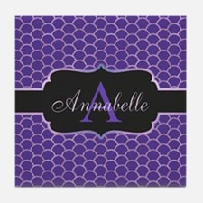 Purple Mermaid Scale Monogram Tile Coaster