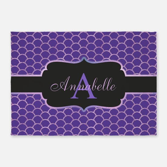 Purple Mermaid Scale Monogram 5'x7'area Ru