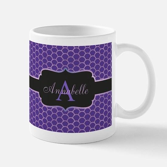 Purple Mermaid Scale Monogram Mugs