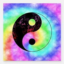 "Rainbow Tie Dye Yin Yang Square Car Magnet 3"" x 3"""