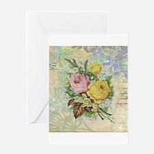 Beautiful Vintage rose design Greeting Cards