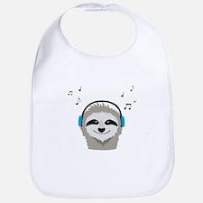 Sloth with headphones Baby Bib