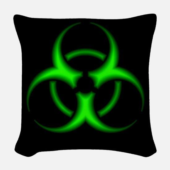Neon Green Biohazard Symbol Woven Throw Pillow