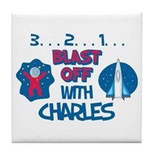 Blast Off with Charles Tile Coaster