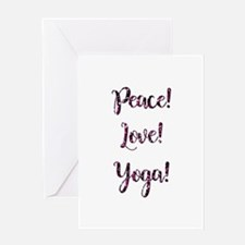 PEACE, LOVE, YOGA! Greeting Cards
