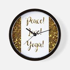 PEACE, LOVE, YOGA! Wall Clock