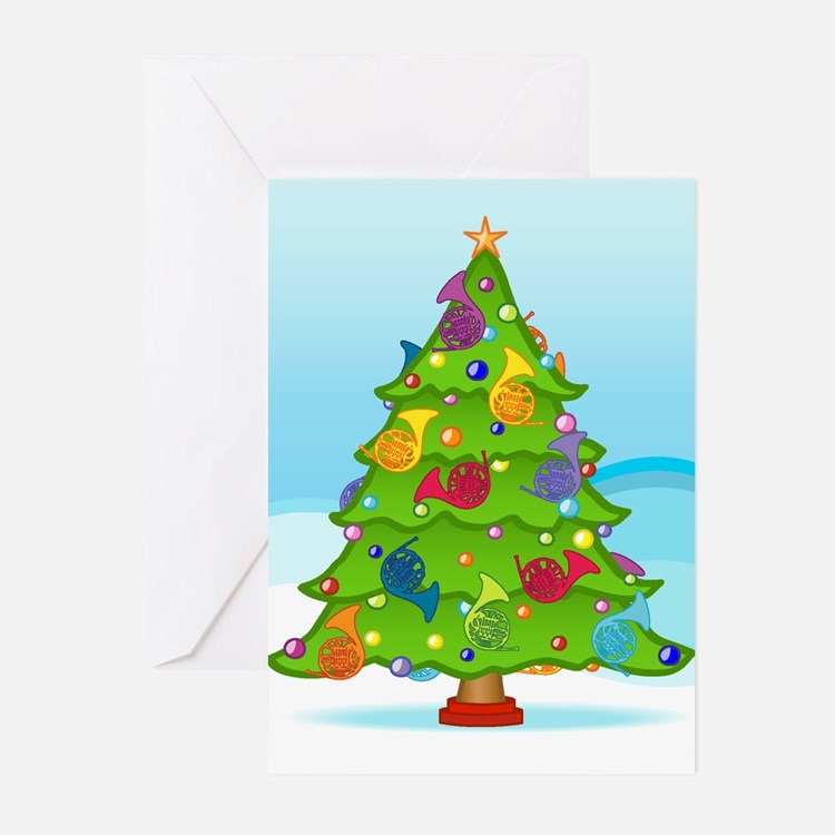 French Horn Christmas Greeting Cards