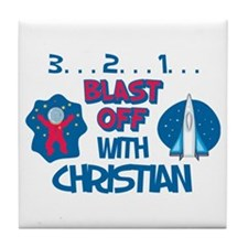 Blast Off with Christian Tile Coaster