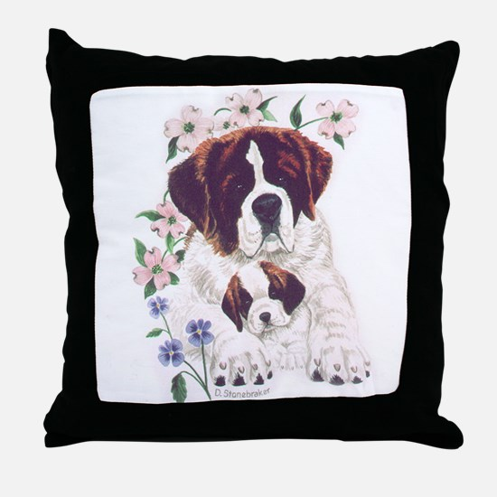 Saint Bernards Throw Pillow