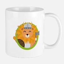 Viking lion with circle Mugs