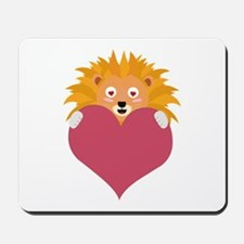 Romantic Lion with heart Mousepad