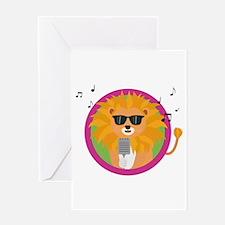Singing music lion Greeting Cards