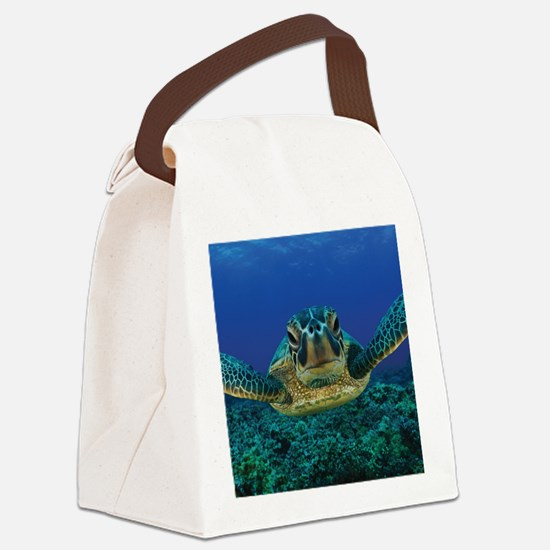 Turtle Swimming Canvas Lunch Bag