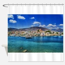 Paradise on the Greek Shore Shower Curtain