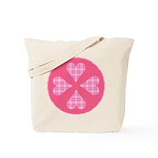 Pink Plaid Hearts Tote Bag