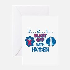 Blast Off with Hayden Greeting Card