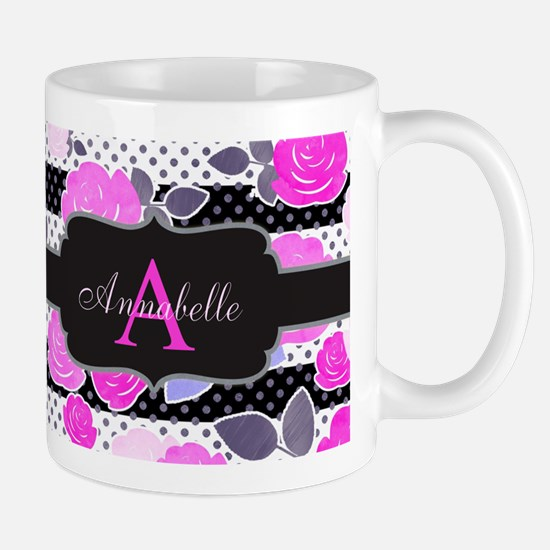 Chic Floral Stripes Monogram Mugs