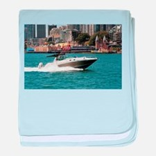 Powerboat on Sydney Harbour, Australi baby blanket