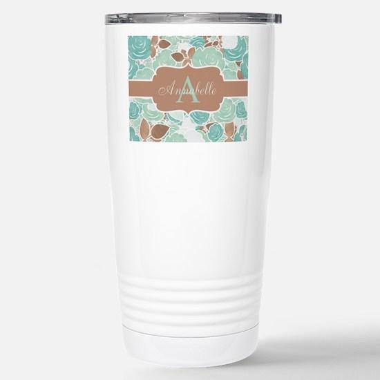 Chic Mint Floral Monogram Travel Mug