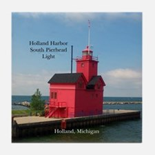Holland Harbor South Pierhead Light Tile Coaster