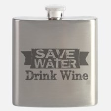 Save Water Drink Wine (blk text) Flask