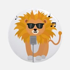 Cool music lion Round Ornament