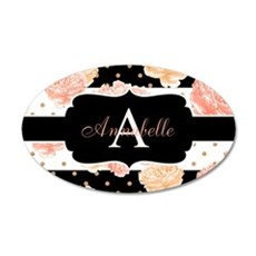 Peach Floral Monogram Wall Decal