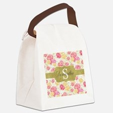 Shabby Chic Floral Monogram Canvas Lunch Bag