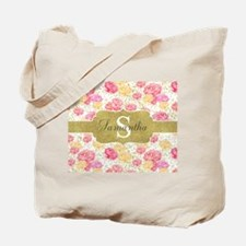 Shabby Chic Floral Monogram Tote Bag