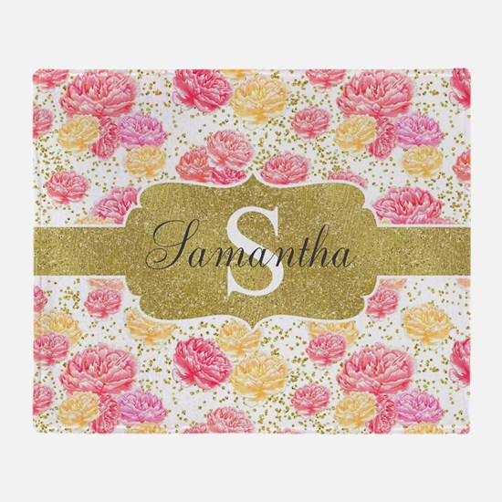 Shabby Chic Floral Monogram Throw Blanket