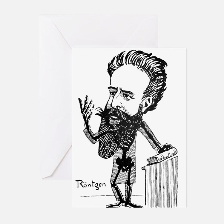 Caricature of Roentgen and X-rays Greeting Cards