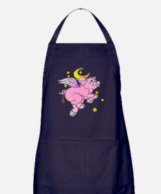 Pink Flying Pig #2 Apron (dark)