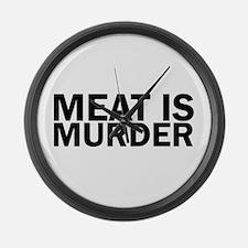 Meat Is Murder Vegetarian Vegan B Large Wall Clock