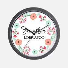 Personalized Floral Wreath Wall Clock