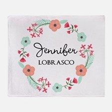 Personalized Floral Wreath Throw Blanket