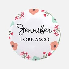 Personalized Floral Wreath Button
