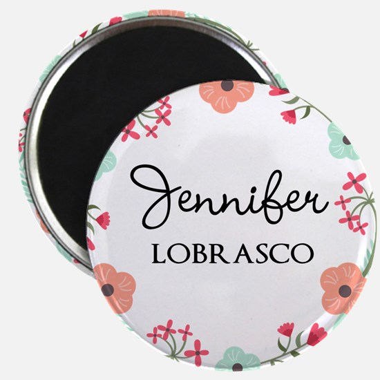Personalized Floral Wreath Magnets