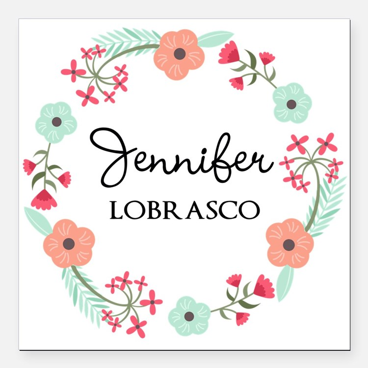 """Personalized Floral Wreath Square Car Magnet 3"""" x"""