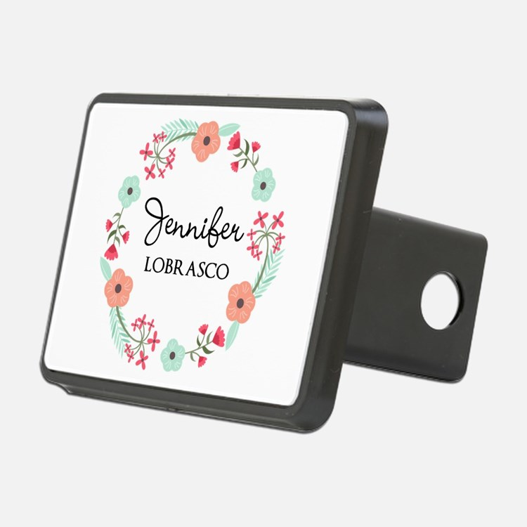 Personalized Floral Wreath Hitch Cover