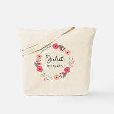 Flower Wreath Name Monogram Tote Bag