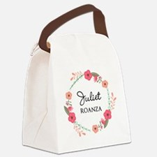 Flower Wreath Name Monogram Canvas Lunch Bag