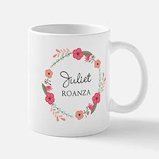 Flower Wreath Name Monogram Mugs