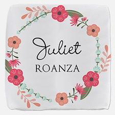 Flower Wreath Name Monogram Cube Ottoman