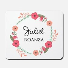 Flower Wreath Name Monogram Mousepad