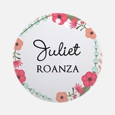 Flower Wreath Name Monogram Round Ornament