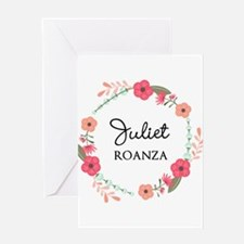 Flower Wreath Name Monogram Greeting Cards
