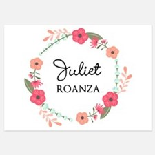Flower Wreath Name Monogram Invitations